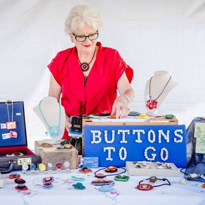 bendigo buttonfest 2019, carole grenfell, buttons to go, button jewellery, button art, community event, fun things to do, st andrews uniting church, club display, collectable buttons, bendigo historical society display, antique buttons, vintage buttons, modern buttons, raffles, creative fun activity for kids, the victorian button collectors club, country button fest, unusual events