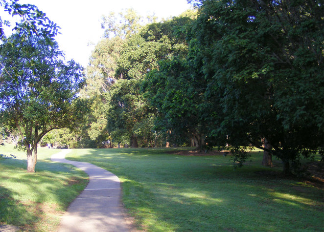 Follow this track between the Milne Hill Reserve and the Chermside Hills Reserve