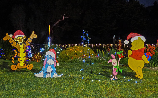 Christmas, Lane, Lights, Display, 2018, Lobethal, Winnie-the-Pooh