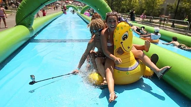 city slider, water slide, family entertainment, activities for kids, water sports, around australia