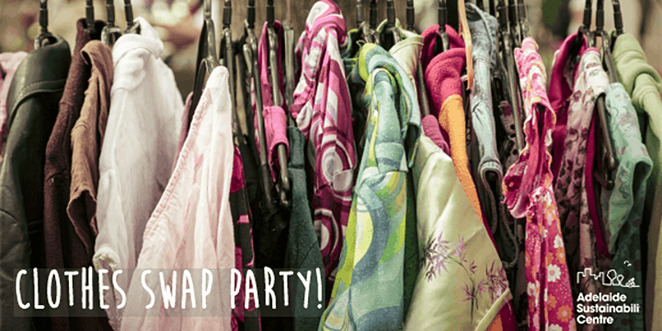 clothes swap party, community event, fun things to do, conservation sa, green adelaide, the joinery, guilt free shopping, recycle, upcycle, sustainable shopping, second hand fashion, clothing, accessories, shoes, jewellery, donations, the groove in the garden, joinery gardens, live music, food and drink