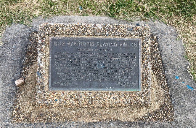 Cos Zantiotis Playing Fields, Sports Fields, Ovals, Playground, Olsen Avenue, near Treasure Island Holiday Resort, Gold Coast, Walking Track, Plaque, Cos Zantiotis,