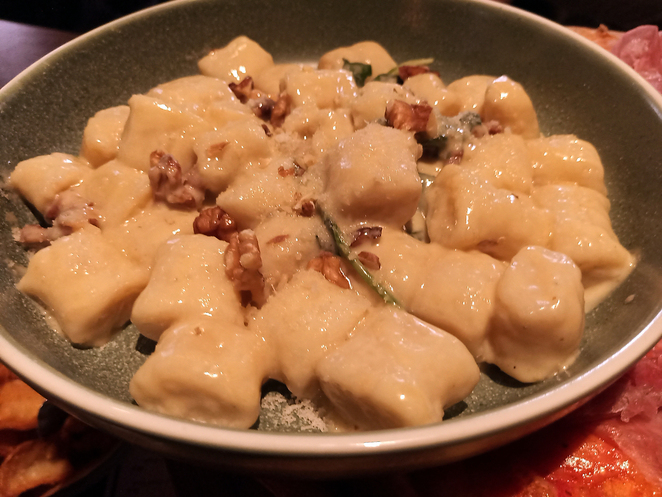 Hand Made Potato Gnocchi with Gorgonzola, Spinach and Walnut