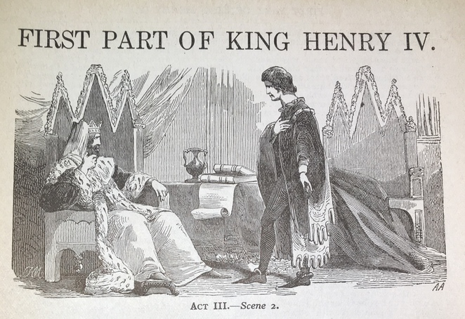A lithograph image depicting a scene from King Henry IV Part I
