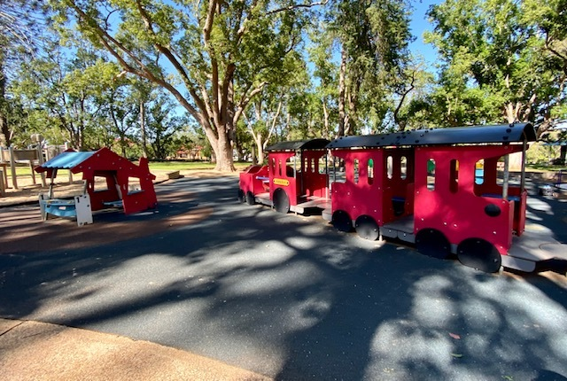 A train for imaginative play at Margaret Street Playground