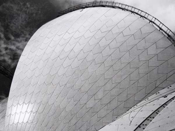 Max's Modernism: A Walking Tour in Sydney's CBD, nsw heritage festival 2018, Max Dupain, Sydney Opera House with Tilers, 1972, by Max Dupain. Photo: Max Dupain
