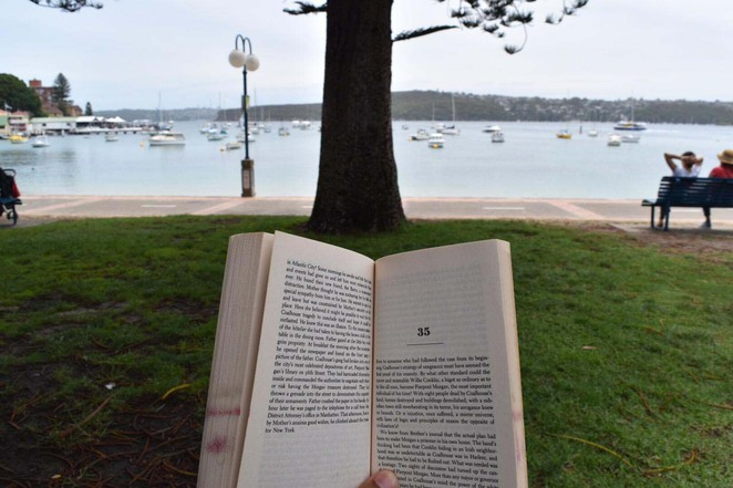 reading at east manly cove beach