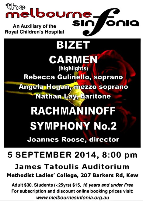 the melbourne sinfonia, charity concert, james tatoulis auditorium, orchestral music, baroque, classical, romantic, modern repertoire, auxilliary, royal childrens hospital, melbourne, gatehouse