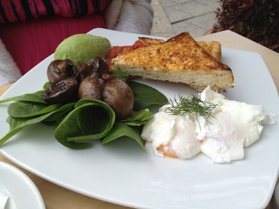 The vegetarian option – poached eggs, spinach, roast tomatoes and sauteed mushrooms on toast ($13.50)