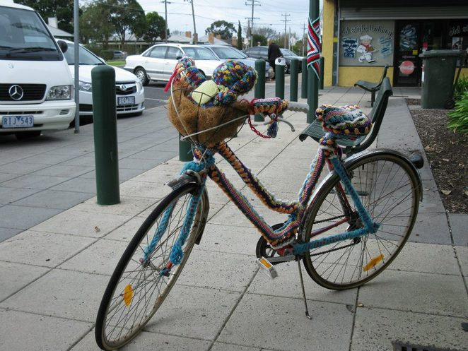 Yarn Bombing a Push Bike, Norlane