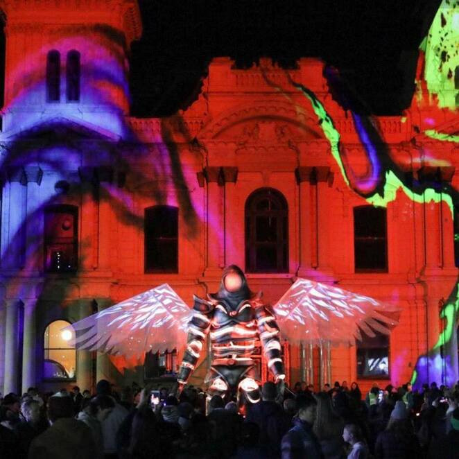 2019 white night melbourne reimagined, white night reimagined, visit melbourne, entertainment, activities, parks and gardens, birrarjng marr, physical realm, fantastic feats of grace and dexterity, the art of performance, treasurey gardens sensory realm, carlton gardens, mysterious creatures, spiritual experiences, spiritual realm, community event, fun things to do, performing arts, roving entertainment, food and drink, deadly questions, where do books come from?, birrarung mar the physical realm, globe, the odd platoon, the odd platoon drummers, heliosphere, white night sign, this girl can at white night, treasure gardens the sensory realm, waterlight graffiti, cluster, pollution pods, iris, songcloud, cocoon, synapse, sensoria, carlton gardens the spiritual realm, the guardian, the swan sisters, the white night messenger, story tree bunjil creation, pleasure, loved, awakened, spirit creatures, energies, superdrone, australian music vault, blak night white night at melbourne museum, nocturnal whitenight rockwiz r