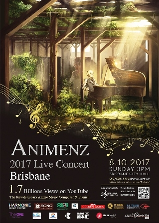 animenz, youtube, live concert, brisbane city hall, anime, music, composer, performer, pianist