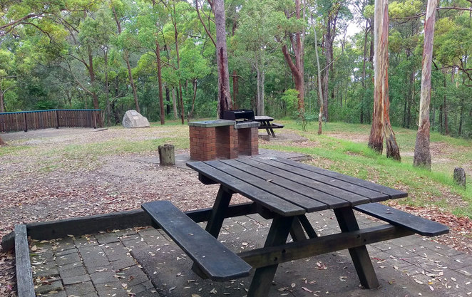 The picnic area at Camp Mountain includes tables, preparation areas, wood fire barbecues and plenty of shady trees