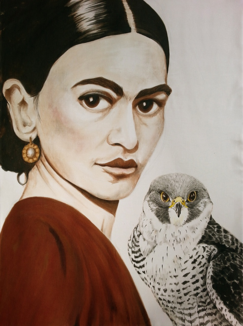 Frida and the falcon, a painting on silk by Rose Colbeck