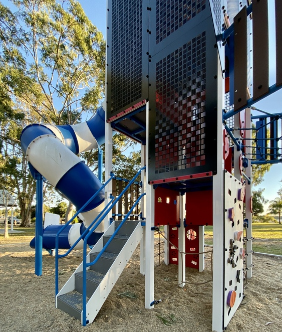 Steps and climbing walls allow children of different ages and abilities to reach levels on the tower that they feel most comfortable at