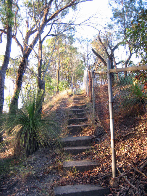 The short set of steps to the summit