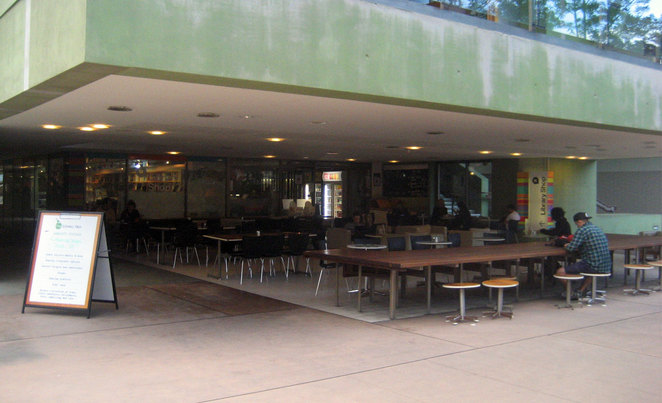 The State Library of Queensland Cafe has sofas, soft chairs and padded benches inside