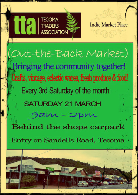 tecoma traders association, craft,vintage, indie market place, crafts, produce, tecoma, out the back market,