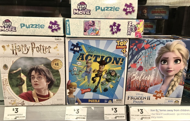 Toy Story Jigsaw Puzzle, Frozen Jigsaw Puzzle, My Little Pony Jigsaw Puzzle, cheap Christmas gifts, budget kids toys, image by Jade Jackson, kids Christmas toys under ten dollars
