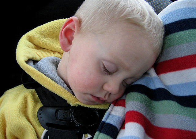 Toddler asleep in car