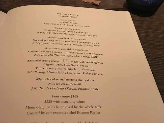 A sample menu from the Park Hyatt Hotel Sydney.