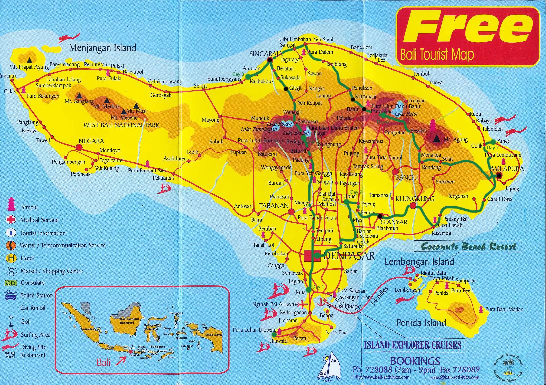Map of Bali Indonesia images