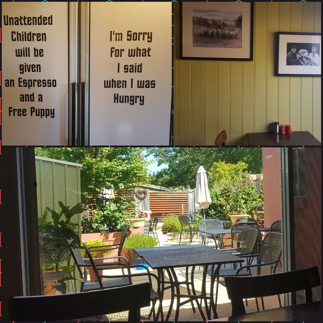 Cafe, coffee, decor, rustic, outdoors, family, humour