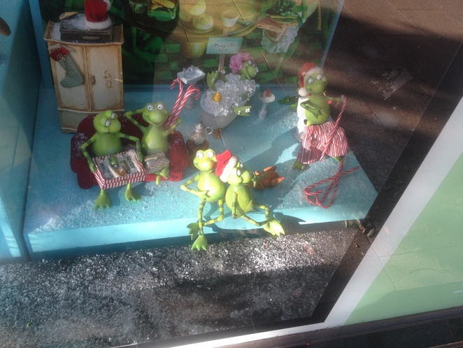 Frogs in the Myer Christmas Windows Geelong