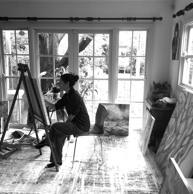 Gabbie Lancaster at work at home in her studio Art exhibition jade M2 Gallery Nov 2016