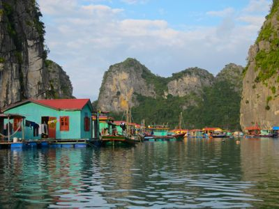 Ha Long Bay, Vietnam, floating fishing village