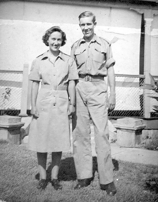 Marjorie Porter, youngest daughter of Private Porter, who served in the AWAS during World War II with her fiancé, Sgt Ivor Williams of the 2/43rd Battalion in the occasion of their engagement in 1944. Photo from Friends of ANZAC Cottage Collection.