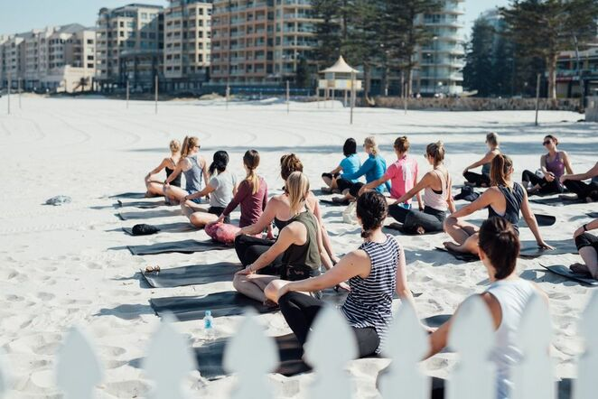 Moseley beach club, yoga on the beach, champagne dinner, brunch club, food, sand, beach, Glenelg, day bed, sun lounge, beach booth, COVID safe