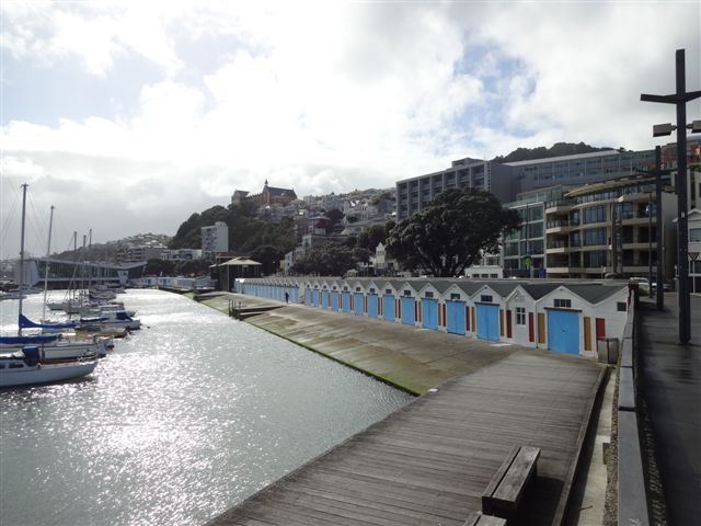 Oriental Bay boatsheds, Wellington, waterfront