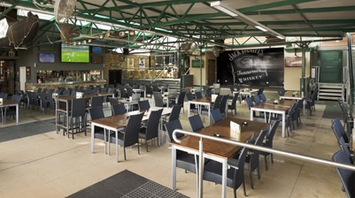 seating area, outdoors, summer, lunch, food, pub, people, seats, bar