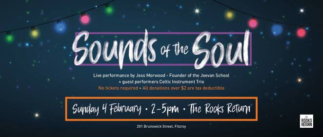 sounds of the soul melbourne, the rooks return, the scoop foundation australia, jess morwood, jeevan school in varanasi, community event, fun things to do, fundraiser, charity, family fun, education, performing arts, entertainment, chris gogerly, celtic instrumental trio, free event, donations, tax deductible