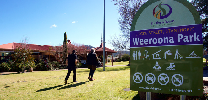 Weeroona Park with the Stanthorpe Art Gallery and Library in the background