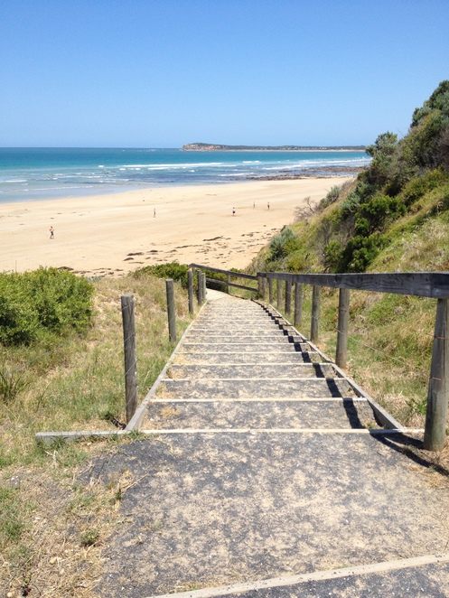 Steps from the car park to the beach