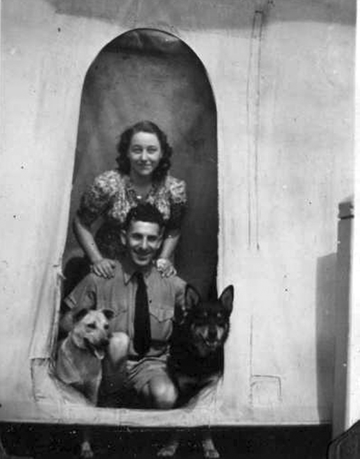 Top left: Marjorie and Joan. Top right: Annie Porter and Ted Williams. Above: Aunty Nancy and Uncle Ted (check the dog's feet). Hear Anne tell their stories and more.