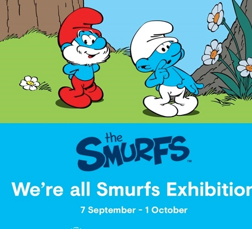 we're all smurfs, exhibition, hyperdome, smurfette, papa smurf