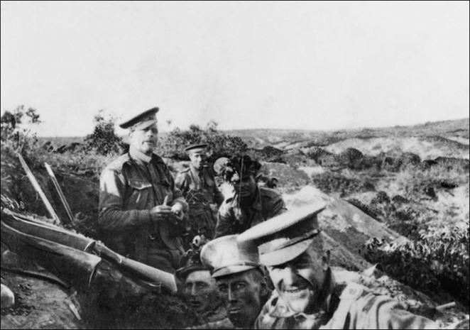 Members of 13th Battalion, AIF, occupying Quinn's Post on the heights above Anzac Cove.
