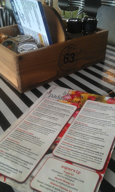 cafe 63, paddington, latrobe terrace, rustic, condiments