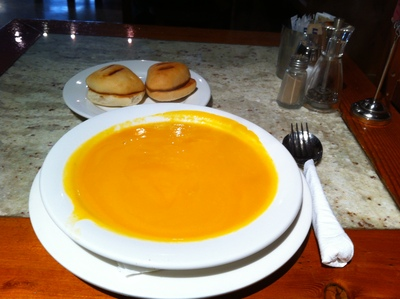 Pumpkin soup with toasts