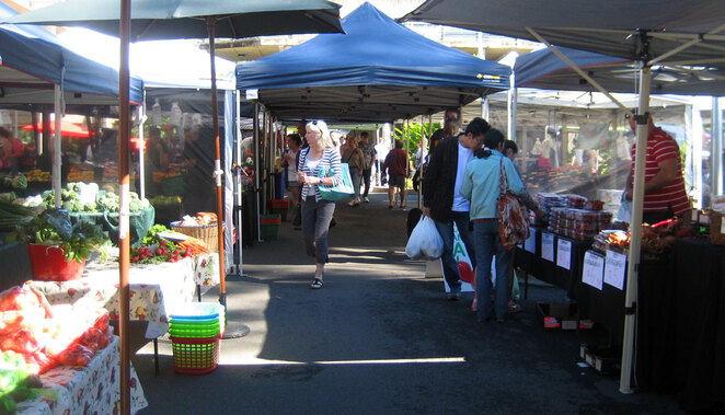Browsing the many fruit & vegetable stalls at the markets