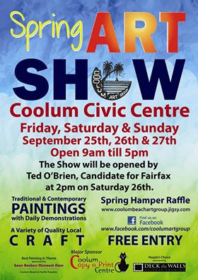 coolum art group, exhibition, sunshine coast, painting, art, free, event, spring,