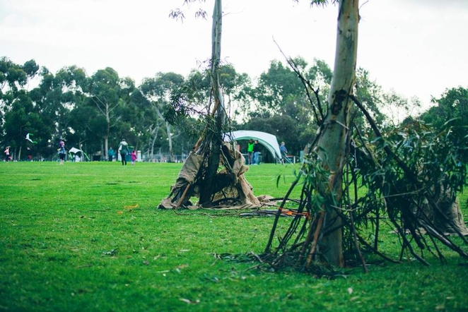 Cubby Town 2, Nature Play SA, Belair National Park, Adventure Playground, picnic, July school holidays, koalas, Glenalta, cubby building materials, sticks ropes and hessian