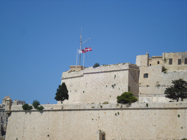 Flags of Malta Fly Over Fort St Angelo