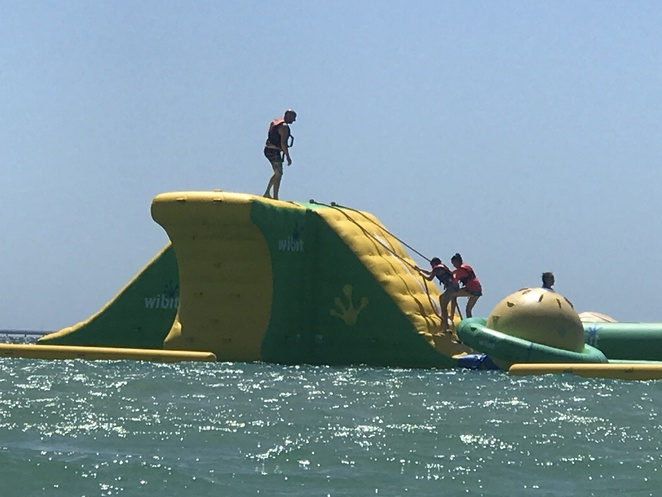 inflatable waterpark, aqua mania funnas water, floating obstacle course, new water park, waterpark rockingham,