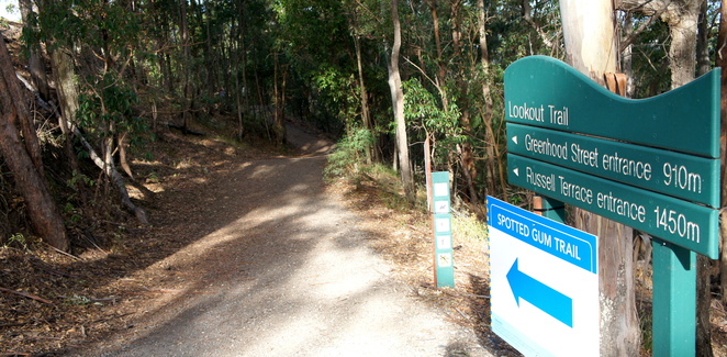 The top entrance to the Spotted Gum Trail