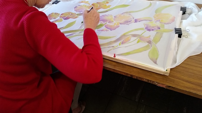 students learn resist techniques to produce beautiful silk art