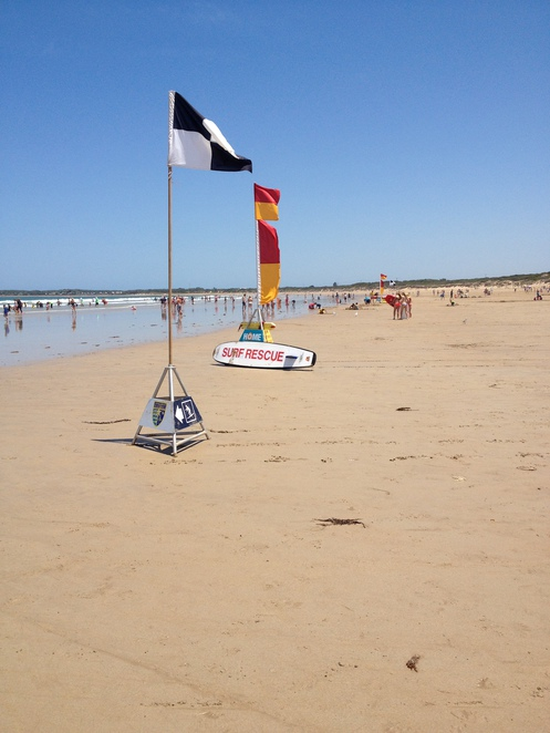 The flags, Ocean Grove beach